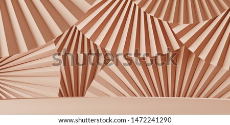 Abstract background for branding, identity and packaging presentation. Podium on nude color paper fan medallion background. 3d rendering illustration.