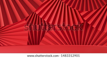 Abstract background for branding, identity and packaging presentation. Podium on red paper fan medallion background. 3d rendering illustration.