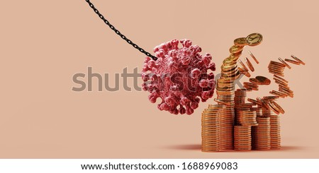Abstract background for COVID-19 outbreak crisis to collapse the global economy. COVID-19 Virus pendulum swinging to dollar coin on beige background. 3d rendering illustration.
