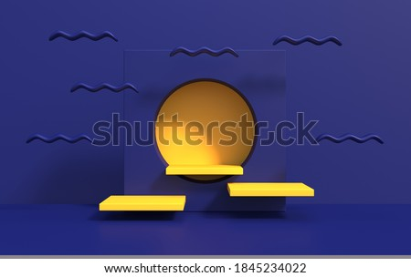 Abstract background for product demonstration on podium in art deco style, 3d render stock photo