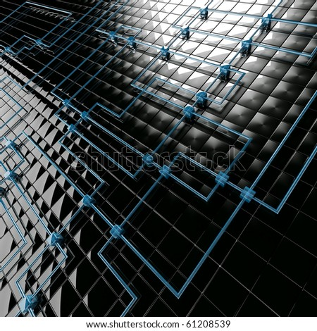 Abstract background from black metal big and blue small cubes