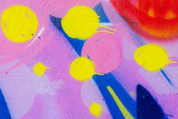 Abstract background from colorful painted on concrete wall. Pink tone.