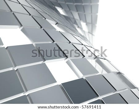 abstract background from gray metallic cubes on a white