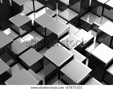 Abstract background from metallic cubes