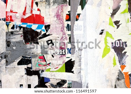 abstract background from scraps of posters