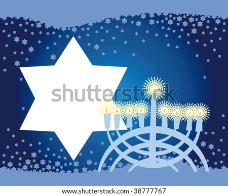 Abstract background from the stars of David and Menorah