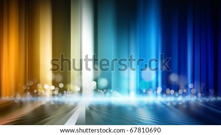 Abstract background - glowing colored lines with round flare and reflection