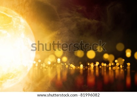 Abstract background - glowing planet, orange blurred lights with reflection