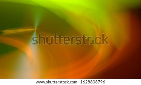 Abstract background graphic. Green and red lights create a swirl. Remedy of a vertigo. Colorful design with a high shutter. Motion blur creates a soft and undefined shape. 3D rendering in 16:9. Foto stock ©