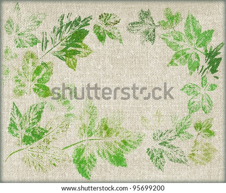 Leaves Painting Canvas Leaves on a Linen Canvas