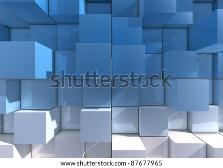 Abstract background image of cubes in blue to white tones