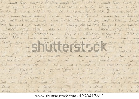 Abstract background in vintage style with old aged yellow brown paper with faded ink stains, hand written unreadable text. Grunge old fashioned retro style texture. Foto stock ©