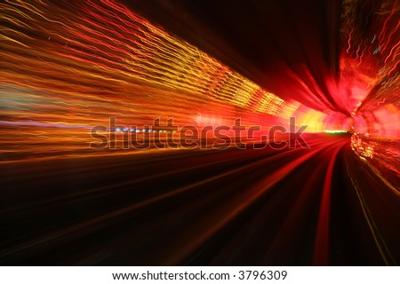 abstract background light waves in deep underground tunnel turning right