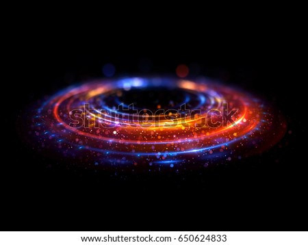 Stock Photo Abstract background. luminous swirl. Elegant glowing circle. Bright spiral. Glow ribbon. Empty space. 