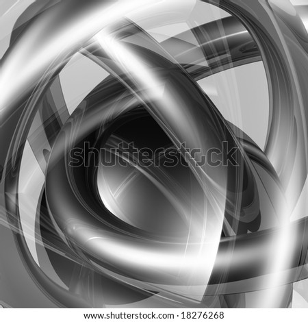 Abstract background made from monochrome reflective 3D primitives