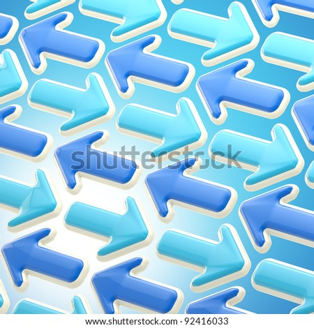 Abstract background made of chaotic blue and light blue bright glossy pointers and arrows