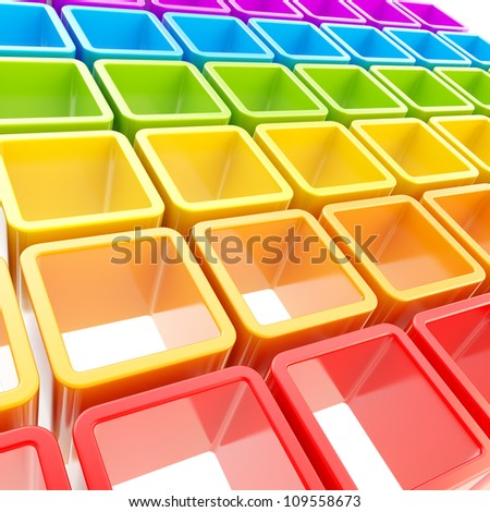 Abstract background made of colorful rainbow colored glossy cube cell composition