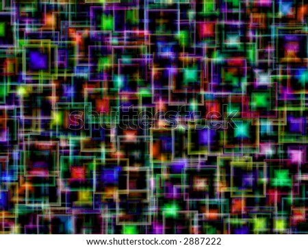 Abstract background made of colorful squares on black background