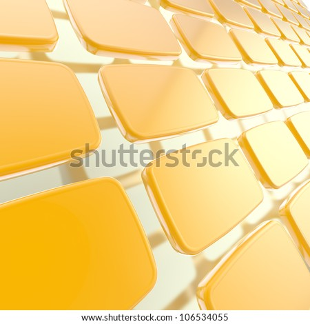 Abstract background made of copyspace orange glossy plates above metal surface