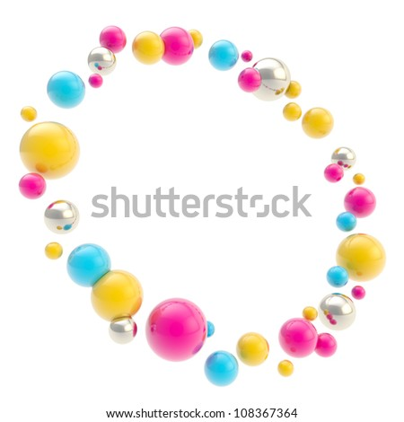 Abstract background made of glossy cmyk colored and chrome sphere circle round copyspace frame isolated on white