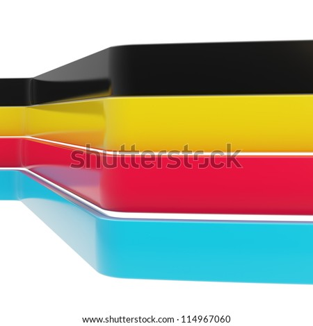 Abstract background made of multiple cmyk colored glossy dimensional tape stripes over white background