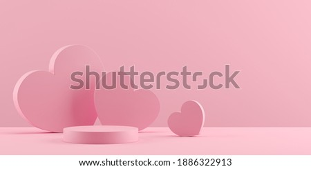 Abstract background minimal style for branding product presentation on Valentine's day. Mock up scene with empty space. 3d rendering