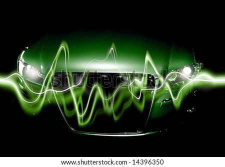 Abstract Background: modern car in shadows with electric waves