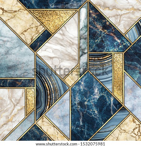 abstract background, modern marble mosaic, artificial agate granite jasper stone texture, blue white gold marbled tile, geometrical fashion marbling illustration, art deco wallpaper