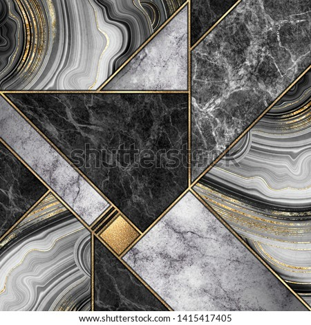 abstract background, modern mosaic tiles, creative textures of marble granite agate and gold, artistic painted marbling, artificial stone, marbled surface, fashion marbling illustration