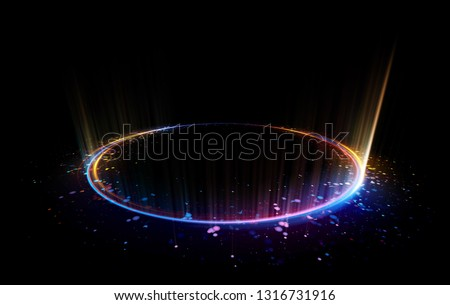 Abstract background. Motion swirl. Glowing circle. Bright spiral. Glow podium. Empty Scene. Space tunnel. Light ellipse. Glint galaxy. Oval stage. Led studio. Lens flare. Glare ring. Show disc.