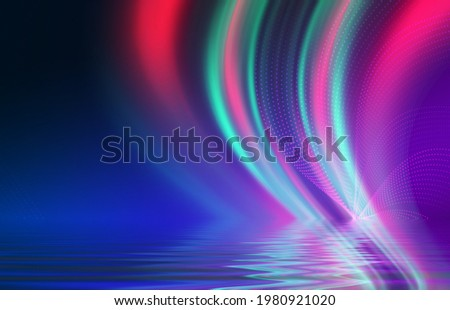 Abstract background. Neon multicolor light reflects off water. Beach party, light show. Blurry lights glisten on the surface. 3d illustration Сток-фото ©