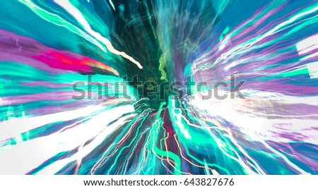 Abstract background New York night, neon lights energy, motion zoom blur effect background, explosion effect #643827676