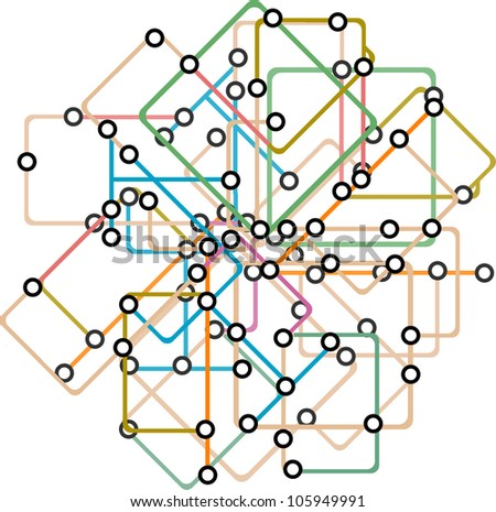 Abstract background of a subway map. Raster