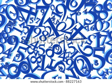 Abstract background of blue numbers against a white background