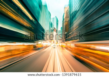 Abstract background of city in motion blur #1391879615