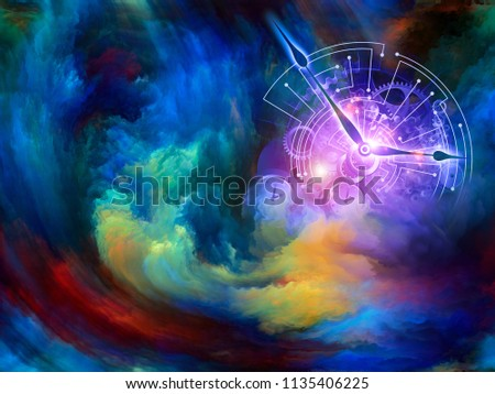 Abstract background of clock dials fused with wavy forms and colors of digital canvas on the subject of time, reality, eternity and modern technology. Custom Background series.