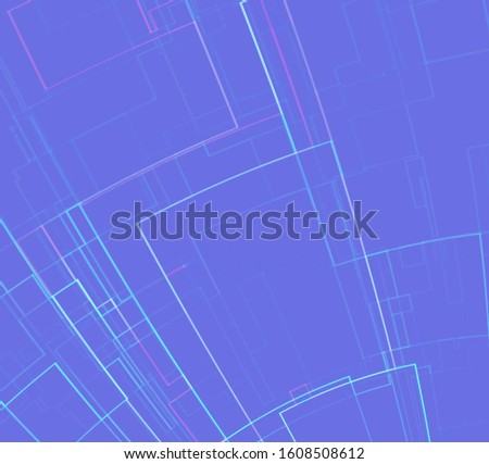 abstract background of colored bordered vertical rectangles in vertical perspective on violet background