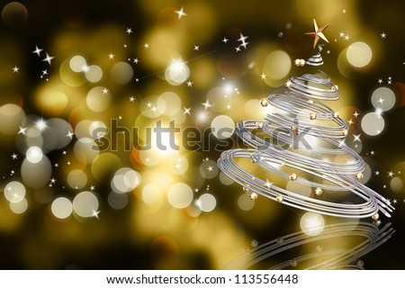 Abstract background of colourful Christmas bokeh lights with a silver spiral tree