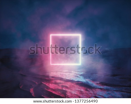 Abstract background of cosmic landscape with pink blue neon light. Concept of virtual reality, energy source. glowing quad, dark space, ultraviolet spectrum, laser, fog. 3d rendering illustration.