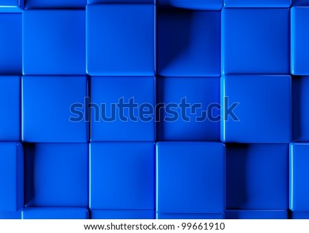Abstract background of 3d blocks, blue cubes