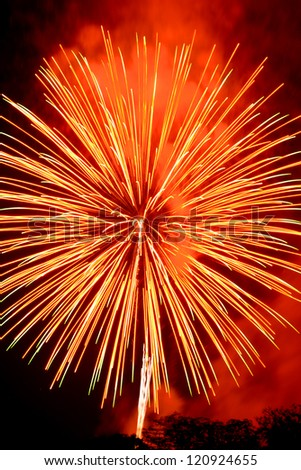 abstract background of explosion line of firework in closed-up on dark sky.