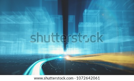Stock Photo Abstract background of fiber optic cables carrying information into wireframe city buildings 3d illustration