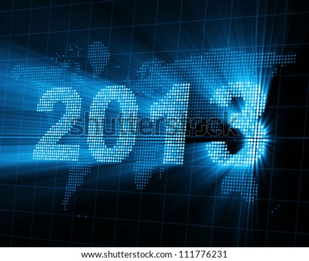 Abstract Background of Glowing New Year 2013 - stock photo