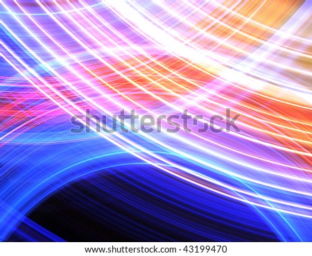 Abstract background of glowing stripes of streaks of light bands in a form of several lines on black background. Long Exposure. - stock photo
