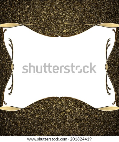 Abstract background of golden sand with a white cutout with gold border. Design template. Design site