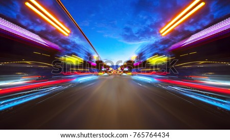 Abstract background of high speed moving in night city #765764434