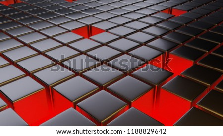 Stock Photo Abstract background of metalic cubic tiles sepparated with spaces. Warm and cold lightning from sides and red lightning between cubes. 3D illustration, concept, template, art.