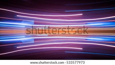 Abstract background of night light on street , long exposure shot #533577973