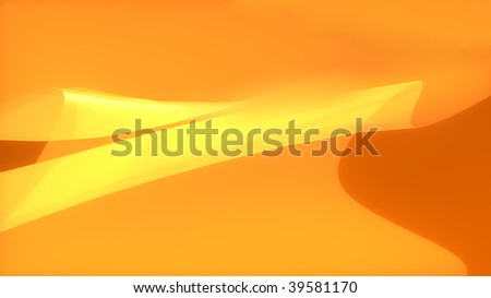 Abstract background of orange and yellow curves in wide-screen format