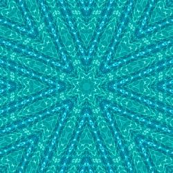 abstract background of pattern of kaleidoscope. white blue turquoise background fractal mandala. kaleidoscopic arabesque